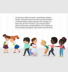 Multiracial children kids bullying pointing and vector