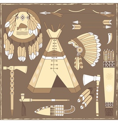 Native American hunting design elements vector image