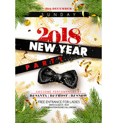 new year 2018 party promotional poster with black vector image
