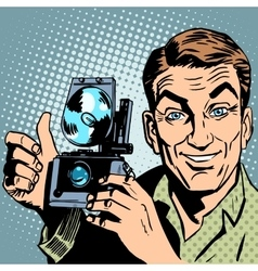 Photographer with retro camera hand gesture all is vector