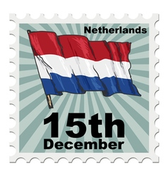 post stamp of national day of Netherlands vector image