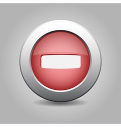 Red metal button with minus vector