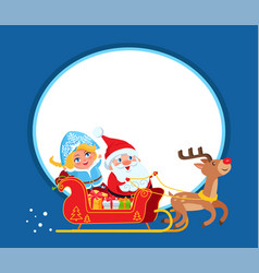 santa claus and snow maide on sleigh with deer vector image