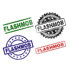 Scratched textured flashmob seal stamps vector