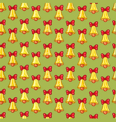 seamless pattern of christmas bells with red bows vector image