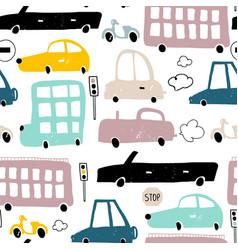 Seamless pattern with hand drawn cute car cartoon vector