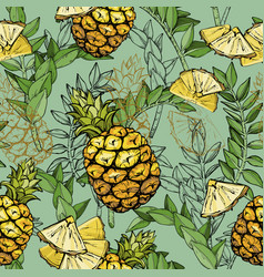 Seamless pattern with pineapples and leaves vector