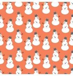 Seamless snowman pattern vector image