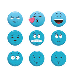 set emoticons with different expressions vector image