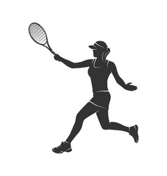 silhouette of a woman with a tennis racket vector image