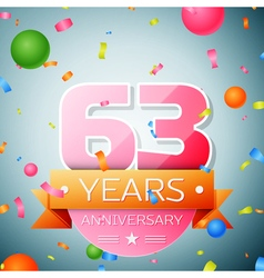 Sixty three years anniversary celebration vector image