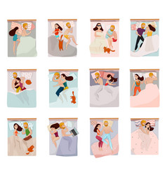 sleeping poses set vector image