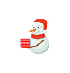 Snowmanin red santa hat precious frosty gracious vector