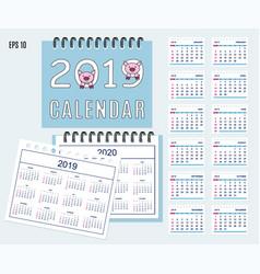 spiral desk calendar year 2019 2020 with pig vector image