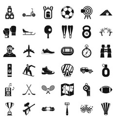 Sportive life icons set simple style vector