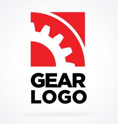 Square engineer logo red gear sprocket vector