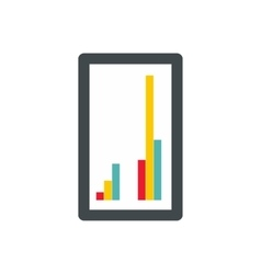 Tablet with charts icon flat style vector
