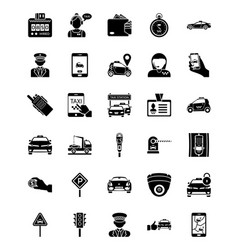 Taxi services solid icons vector