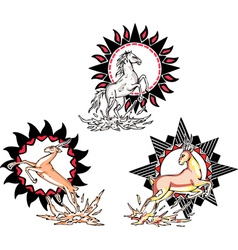 Totems - horse and antelope with solar signs vector image