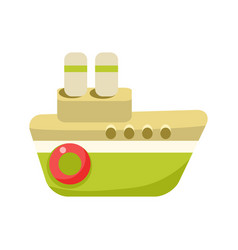 Toy green steamer boat with two chimneys object vector