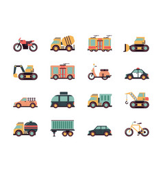 transport flat icons urban vehicles cars buses vector image