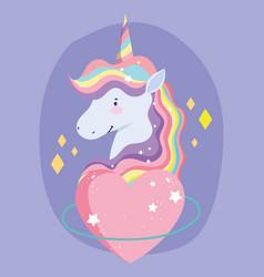 unicorn cartoon rainbow hair horn love heart vector image