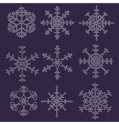various types of outline white snowflakes eps10 vector image