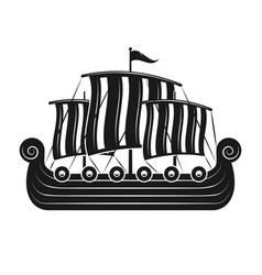 Vikings sail boat or scandinavian drakkar vector