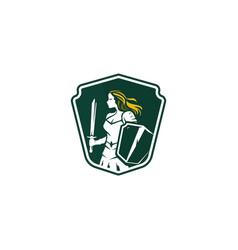Warrior girl security mascot logo vector