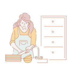 woman washing dishes in sink housewife in apron vector image