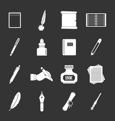 Writing icons set grey vector