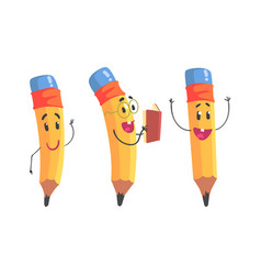 yellow humanized pencil with hands and face vector image