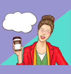 Young woman drinking coffee cartoon vector