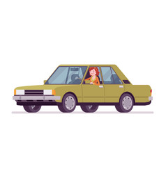 young woman in a car vector image