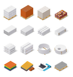 Construction materials isometric icon set vector image