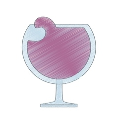 drawing glass cup cognac beverage vector image