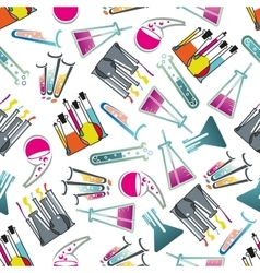 Laboratory glasses tubes and flasks pattern vector image vector image