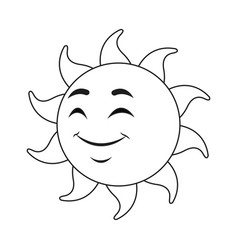 outlined sunny face smiling character icon vector image vector image