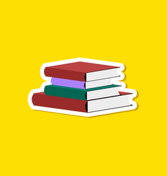 paper sticker on stylish background stack of books vector image vector image