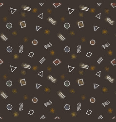 seamless patterns with geometric doodle elements vector image vector image