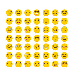set of emoticons cute emoji icons flat design vector image vector image