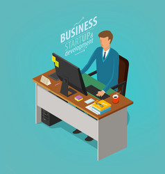 business concept businessman man sitting at desk vector image