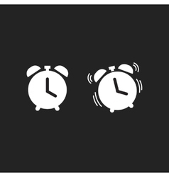 Clock alarm icon isolated on dark black vector image vector image