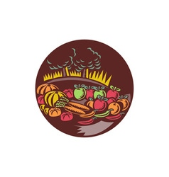 Orchard Crop Harvest Circle Woodcut vector image