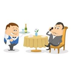 Restaurant man near table isolated vector image