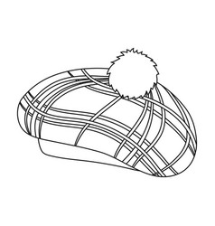 scottish traditional cap icon in outline style vector image vector image