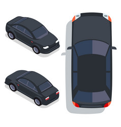 flat-style cars in different views black vector image vector image