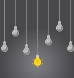 Idea concept with light bulbs on a grey background vector image vector image
