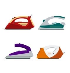 Set of colorful irons isolated on white background vector image vector image