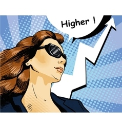 Woman in sunglasses with arrow graph vector image vector image